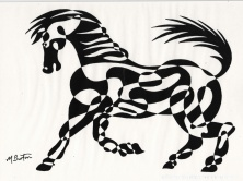Horse. My first single continuous line drawing animal with Optical Art alternate shading, Mick Burton, 1966.