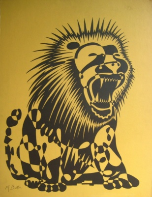Lion, or Mayer single continuous line drawing, large screenprint by Northern Screenprints Ltd. Mick Burton, 1969.