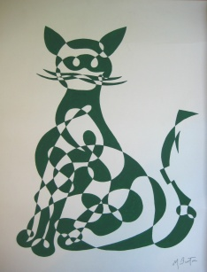Cat, or Ragamuffin. One of 4 single continuous line drawing designs bought by J Arthur Dixon Ltd, greeting cards. Mick Burton, 1969.