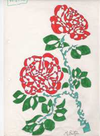 Rose. Several continuous lines and alternate shading in three colours in Japanese style. Mick Burton, 1970.