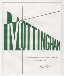 Nottingham Inter Varcity Club newsletter cover. Mick Burton, 1970