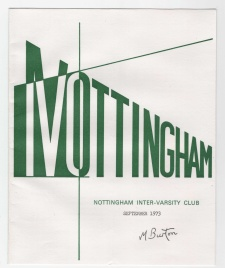 Nottingham Inter Varcity Club newsletter cover. Mick Burton, 1970