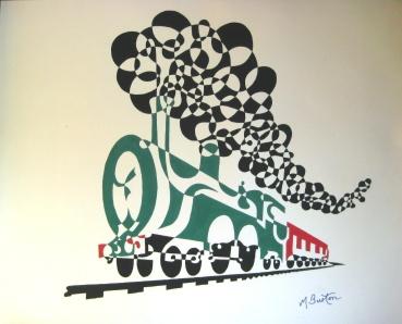 Ho v v er Train Invented, but I preferred a Ho v v ering Steam train. Single continuous line drawing and alternate shading. Mick Burton, 1970