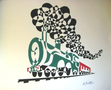 Ho v v er Train Invented, but I preferred a Ho v v ering Steam train. Single continuous line drawing and alternate shading. Mick Burton, 1970