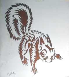 Squirrel, or Squiggle single continuous line drawing. I used a squiggly line to show the effect of the fur and used copper alternate shading. Mick Burton, 1970