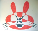 Hot Cross Bunnie, single continuous line drawing was a simple continuous line, but with a ferocious appearance. Mick Burton, 1971