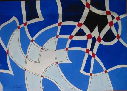 Deep Space. White line widest amongst darker areas. Spherically drawn lines. Mick Burton, 1971