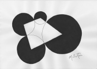 A Look into the Future. Decreasing sized spheres with their centres connected suggested space and time. Mick Burton, 1971