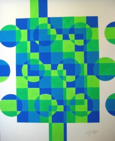 Colour sequence applied to balls flowing through a grid, like a wall. Mick Burton, 1971