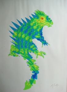 Lizard. Continuous line with colour sequence. Mick Burton, 1971