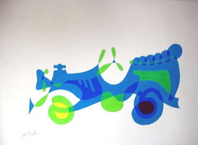 Car, or Jalopy. Single continuous Line drawing with colour sequence. Based on my favourite veteral car. Mick Burton, 1971