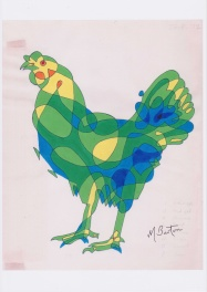 Hen Harriet, or Cock-a-doodle. Single continuous line drawing with colour sequence.