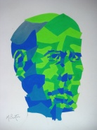 """This """"mapping"""" of my face was a good experiment wtih Four Colour allocation. Mick Burton, 1972."""