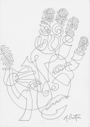 """""""Every fingerprint is unique and so are palm prints"""". Continuous Line Drawing, including face. Mick Burton, 1973"""