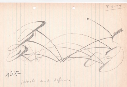 Attack and Defence (depicting a table tennis point being played). Largely continuous lines. Mick Burton, 1973