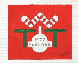 My design submission for the 1977 World Table Tennis Championships. Mick Burton, 1973.