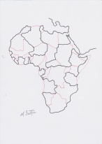 Africa. Four colour map theorem. Continuous line. Mick Burton, 1974.