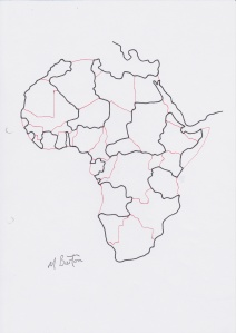Africa. Four colour map theorem. Continuous line. Mick Burton, 1974.