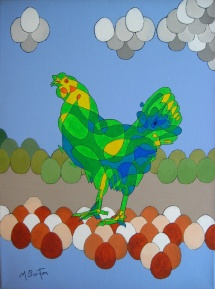 Harriet's Busy day. Single continuous line drawing with colour sequence. Background based on eggs. Mick Burton, 2012.