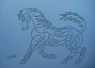 Horse in Celtic style, single continuous Line drawing. Mick Burton, 2012.