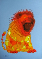 Lion, single Continuous Line drawing and Colour Sequence. Mick Burton, 2012