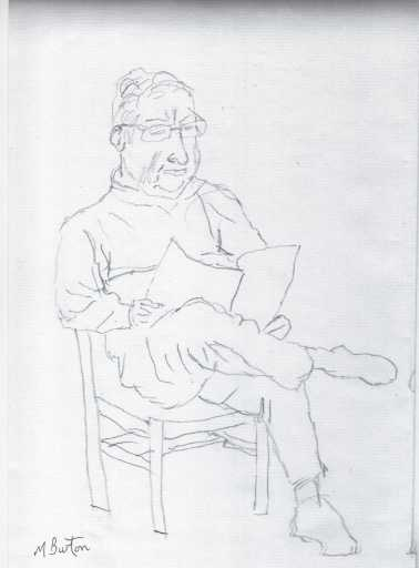 Stainbeck Artist. One of several 10 minute sketches from one afternoon. Mick Burton, 2012.