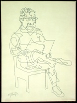 Stainbeck Artist, a Single Continuous Line Drawing from a 10 minute sketch. Mick Burton, 2012.