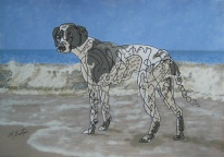 """Dottie, """"Catch me if you can"""". I thought that her markings would go well with the continuous line, and the waves. Mick Burton, 2012."""