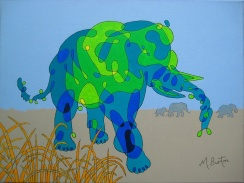 Elephant Grass. Single Continous line drawing with colour sequence. Mick Burton, 2012.