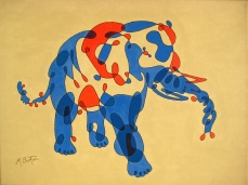 """This single continuous line drawing is coloured to represent a """"Twisting, Overlapping, Envelope Elephant"""", which is Blue on one side and Red on the other. Mick Burton, 2013."""