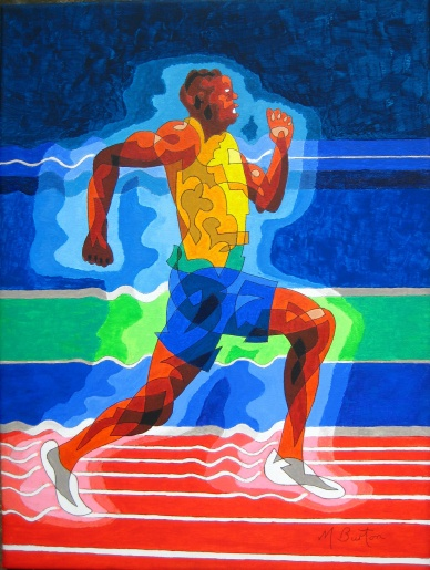 Usain Bolt, single continuous line drawing. Several colour sequences. 100 metre Olympic final at night. Mick Burton, 2013.