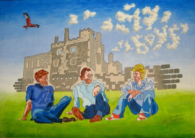 My Boys, Ripley Castle. Single continuous line drawing includes the foreground figures and the castle. Mick Burton, 2013.
