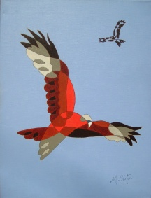 Red Kites at Harewood, single continuous line drawing and colour sequence. Mick Burton, 2013.