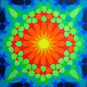 Colour sequence on two continuous lines applied to Escher 1922 painting at Alhambra. Mick Burton 2015.