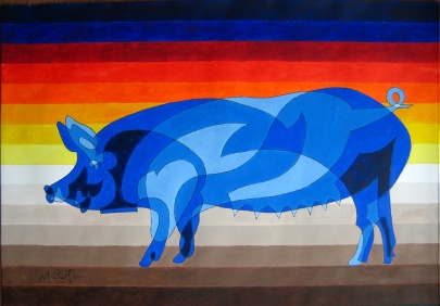 Pig with Rasher Sky, single continuous line drawing with colour sequence. Mick Burton, 2014