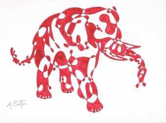 012. 1967-3. Pink Elephant. Alternate shading.
