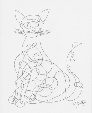 Cat, continuous line.