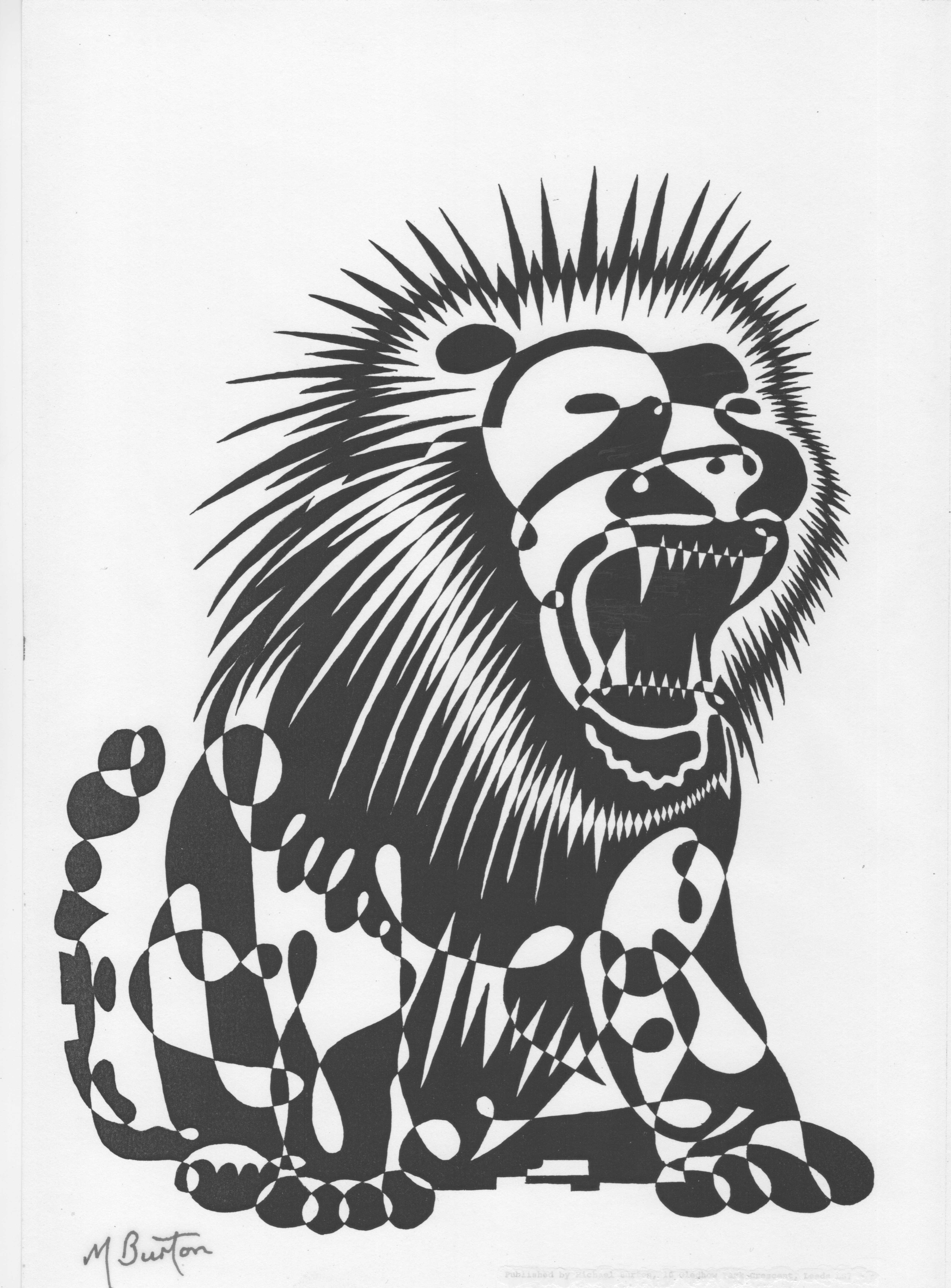016. 1967-9. Lion. Alternate shading, black.