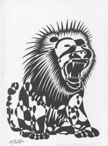 Lion single continuous line drawing with alternate shading in black and white. Mick Burton, continuous line Artist.
