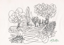 Skelldale. Continuous line drawing.