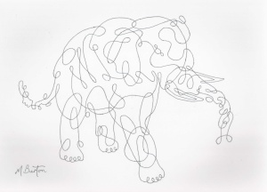 Elephant,. Continuous  line drawing.