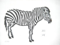 Zeus, Zebra at Yorkshire Wildlife Park. I was asked to include his brown nose. Single continuous line drawing, Mick Burton.