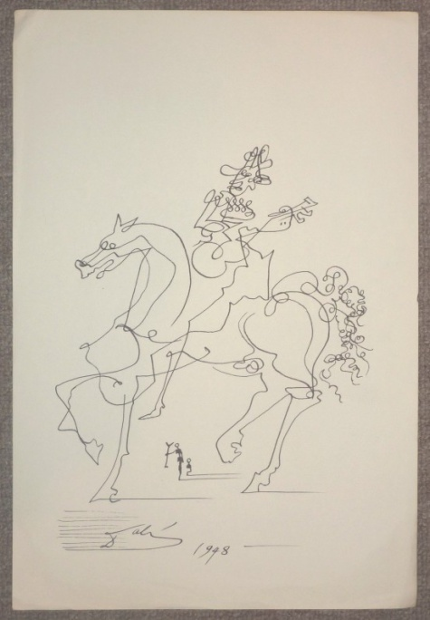 Dali continuous line drawing in pen and ink, guitar player on horse, dated 1948.