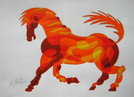 Fig 1.  Completed Colour Sequence on Continuous Line Drawing of horse.  Mick Burton, Continuous Line Blog.