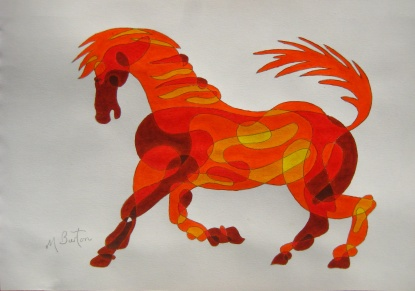 Fig 10.  Third Colour Sequence pair of colours, in the negative direction, on the Continuous Line Horse.   Mick Burton, Continuous Line Blog.
