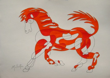 Fig 8.  Initial Colour Sequence pair of colours on Continuous Line Horse.   Mick Burton, Continuous Line Blog.