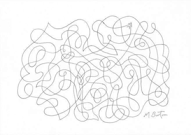 Abstract before Alternate Overdraw  embedded Dog appears.  Mick Burton, Continuous Line.