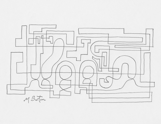 Abstract before Alternate Overdraw embedded steam engine appears.  Mick Burton, Continuous Line Drawing.