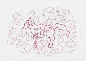 Alternate Overdraw embedded dog appears.  Mick Burton, Continuous Line Drawing.