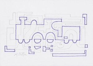 Alternate Overdraw embedded steam engine appears.  Mick Burton, Continuous Line Drawing.